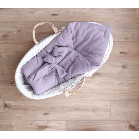 """Муслиновое одеяльце на выписку """"Лиловый закат"""""""